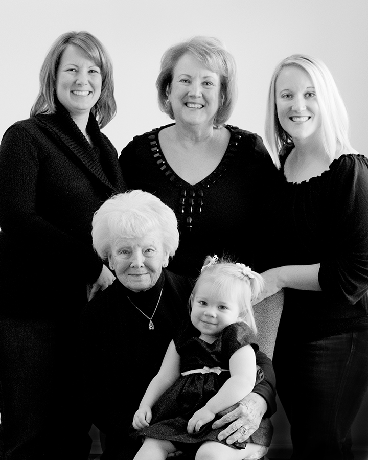 A photo of 4 generations of women taken by Visual Concepts Photography Annapolis, MD