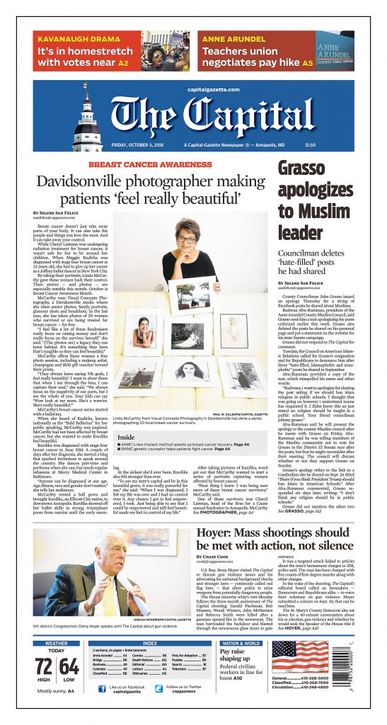 The Capital Gazette breast cancer awareness front page article on Visual Concepts Photography, greater Annapolis area, and the breast cancer survivor art project